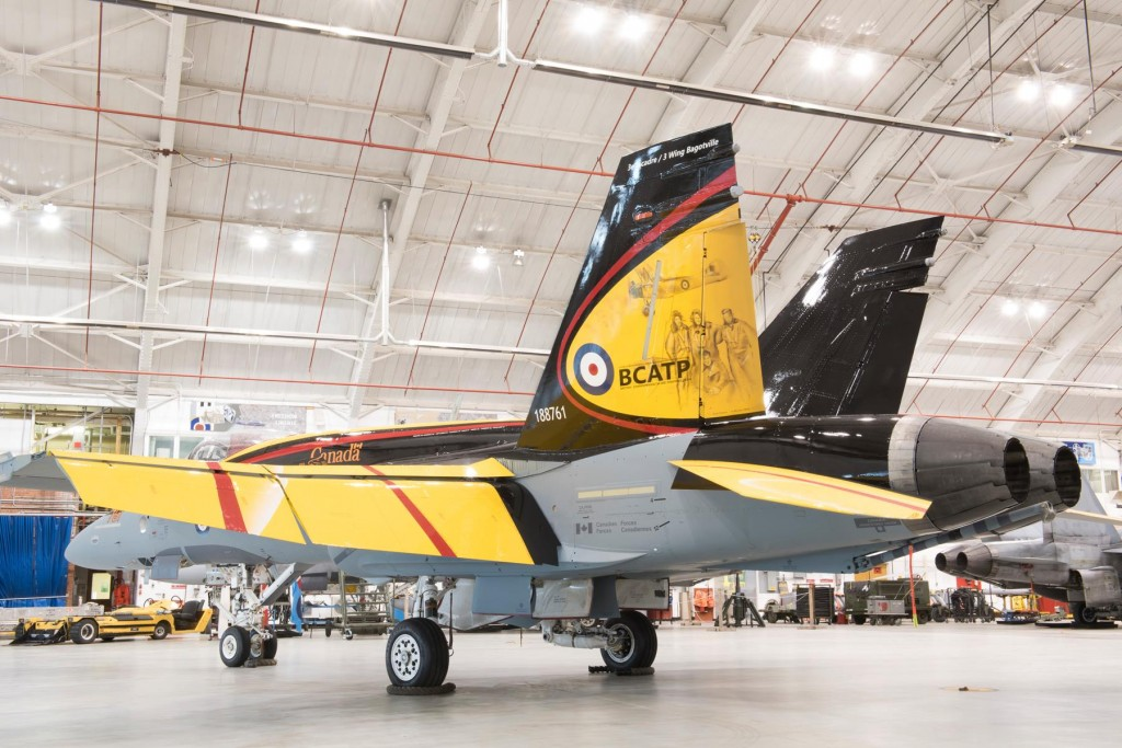 The CF-18 Demonstration Jet is unveiled during a ceremony at 4 Wing Cold Lake, Alberta, on 5 April, 2016. Image by: Cpl I Thompson, CK02-2016-0278-012