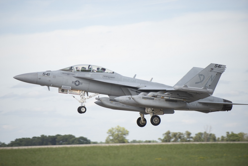 A 132nd Electronic Attack Squadron EA-18 Growler lands at Volk Field, Wis. Aug. 22, 2016, during Northern Lightning. (U.S. Air Force photo by Senior Airman Stormy Archer)