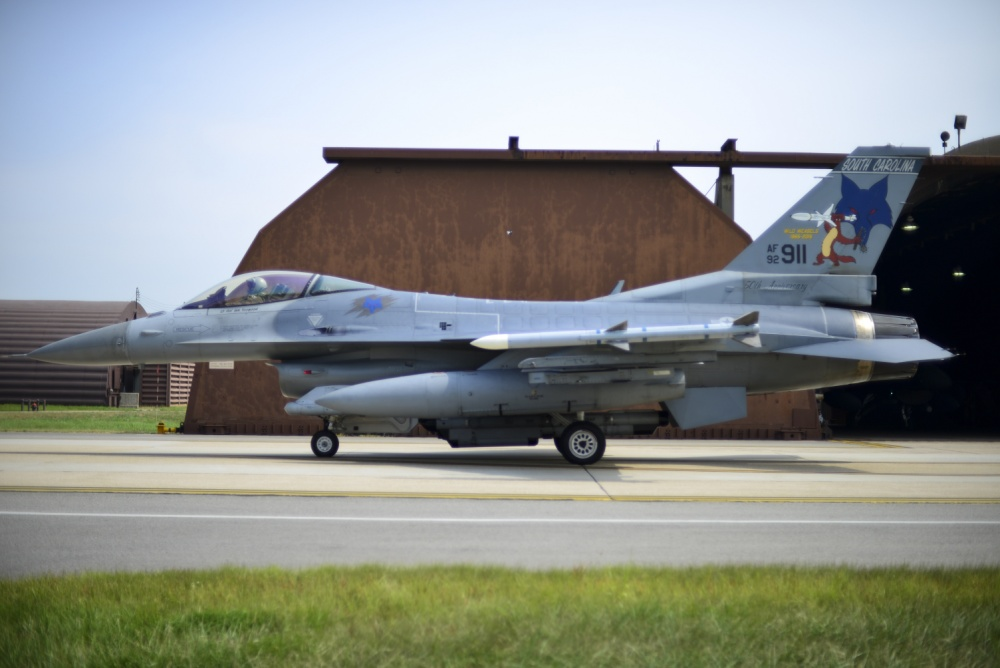 An F-16 Fighting Falcon, assigned to the South Carolina Air National Guard 169th Fighter Wing, taxis to the runway before a sortie in support of Exercise Beverly Herd 16-2 at Osan Air Base, Republic of Korea, Aug. 24, 2016. The Guardsmen, deployed to Osan for a theater security package, work alongside the 51st Fighter Wing during exercises on base to strengthen their capability of flawlessly integrating into a wartime scenario. (U.S. Air Force photo by Senior Airman Victor J. Caputo)