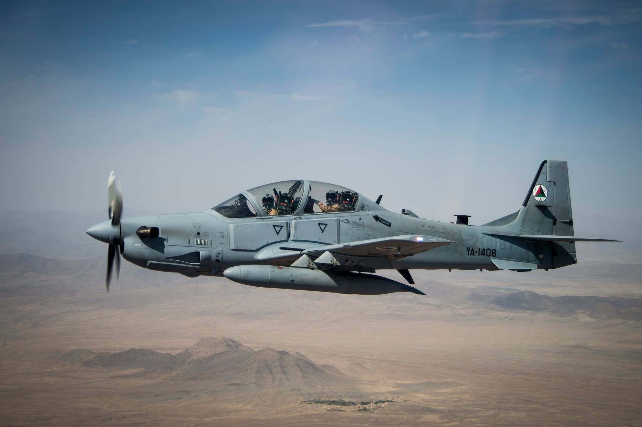 Afghan Air Force A-29 Super Tucano over Kabul [2048 × 1363