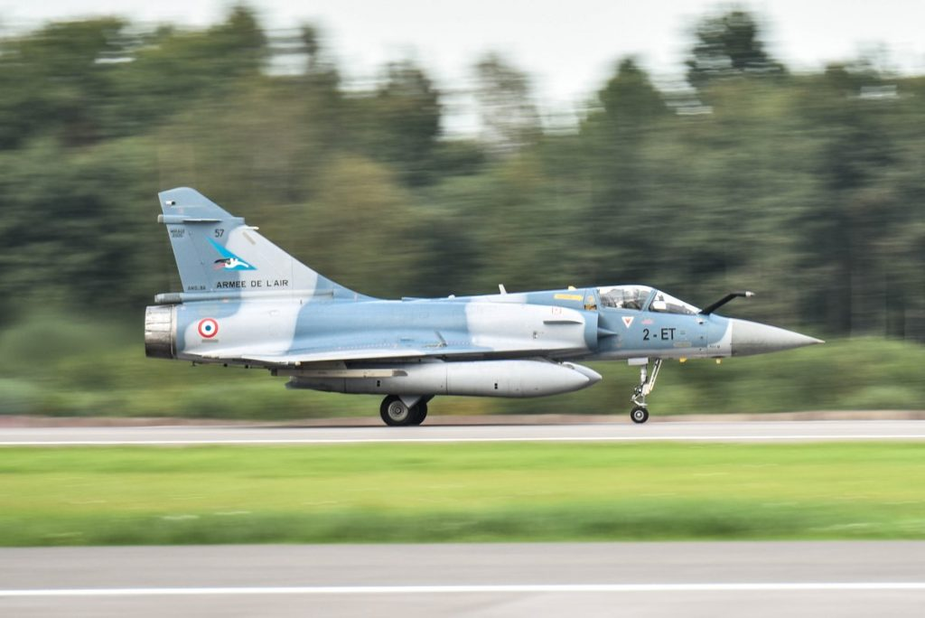 French Air Force Dassault Mirage 2000-5 arriving at Siauliai in Lithuania (NATO)