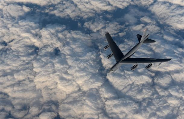 A KC-135 Stratotanker from RAF Mildenhall, England, refuels a B-52 Stratofortress from Minot Air Force Base, North Dakota, in support of Operation Polar Roar over Scotland, Aug. 1, 2016. (U.S. Air Force photo by Staff Sgt. Kate Thornton)