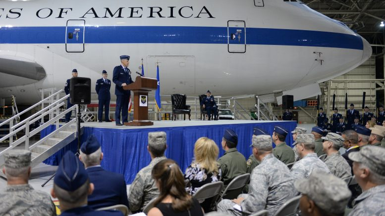 U S Maj Gen Thomas Bussiere Eighth Air Force Commander Addresses An Audience Of Airmen During The E 4b Realignment And 595th Command And Control Group