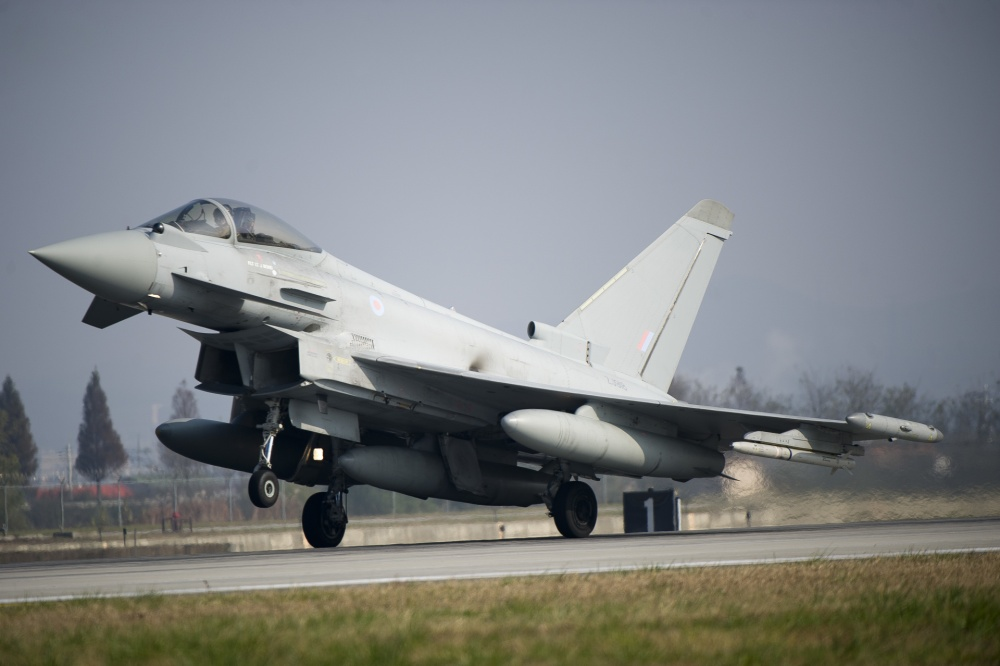 A Royal Air Force Typhoon lands during Invincible Shield on Osan Air Base, Republic of Korea, Nov. 8, 2016. The intent of Invincible Shield is to bolster the strong alliance between the RoK, the United States and the United Kingdom while improving the combat capability in the Pacific region. (U.S. Air Force photo by Staff Sgt. Jonathan Steffen)