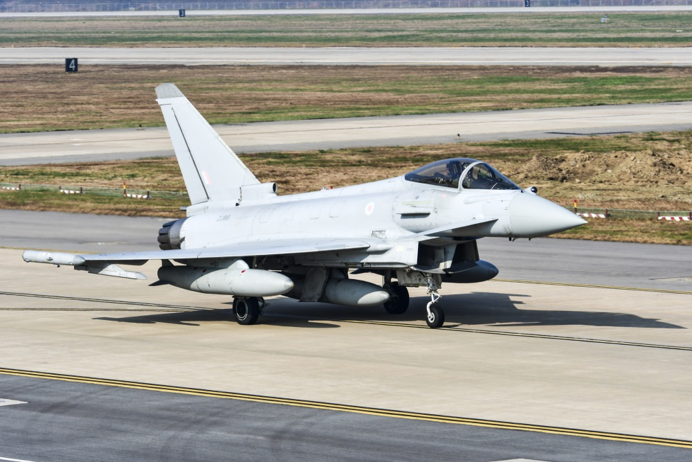 A Royal Air Force Typhoon FGR4 lands during Invincible Shield on Osan Air Base, Republic of Korea, Nov. 8, 2016. The intent of Invincible Shield is to bolster the strong partnership between the RoK, the United States and the United Kingdom while improving the combat capability in the Pacific region. (U.S. Air Force photo by Tech. Sgt. Rasheen Douglas)