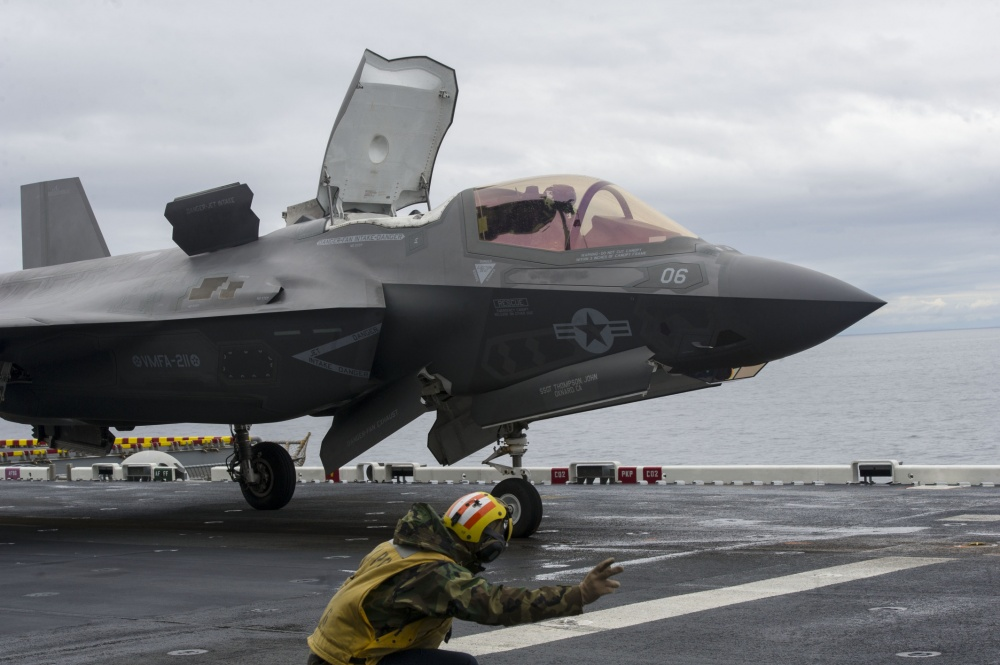 An F-35B Lightning II aircraft is launched from the flight deck of amphibious assault ship USS America (U.S. Navy photo by Petty Officer 3rd Class Kyle Goldberg/Released)